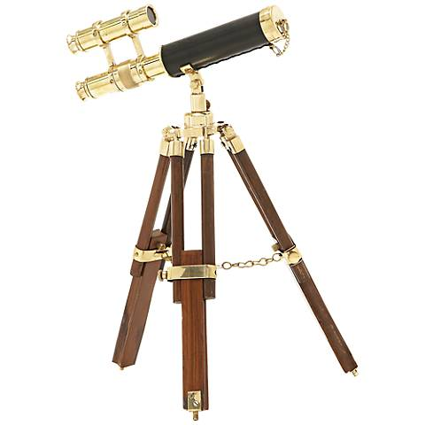 Bouse Aluminum and Wood Miniature Telescope and Stand