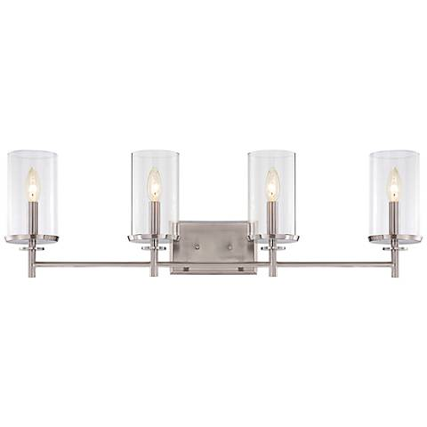 "Harlowe 33 3/4"" Wide Satin Platinum Bath Light"