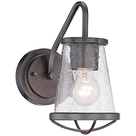 """Darby 10 1/4"""" High Weathered Iron Wall Sconce"""