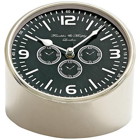 "Stiegler Stainless Steel 8"" Wide Table Clock"