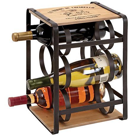 La Maison Du Chiarello Metal and Oak Wood Wine Rack