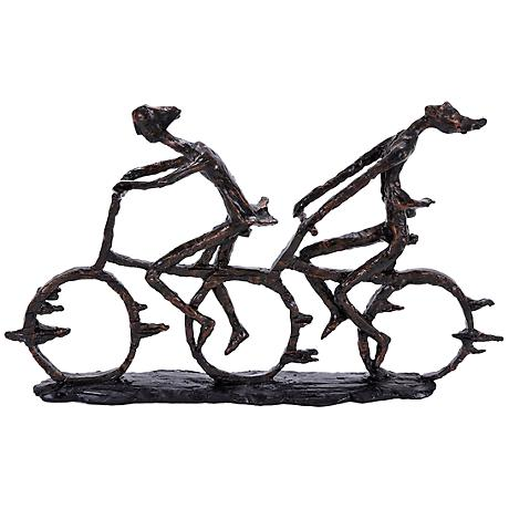 "Cycling Pair 21"" Wide Distressed Brown Sculpture"