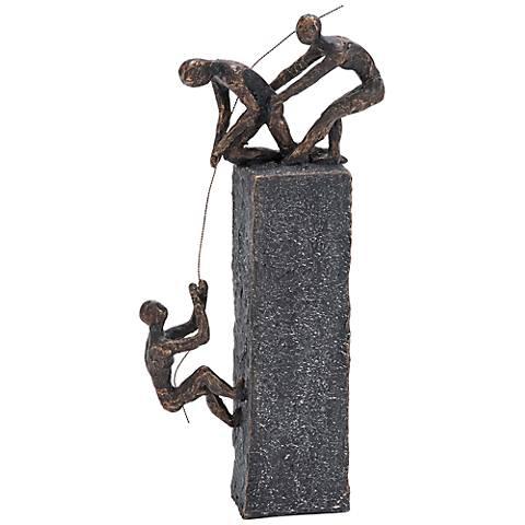 """Rock Climbing 17"""" High Bronze Sculpture"""