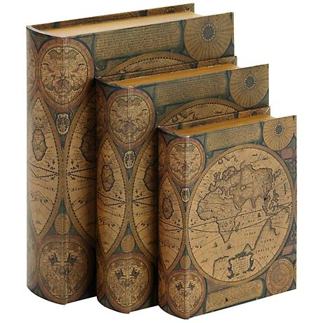 Old World Map Rustic Wood and Leather Book 3-Piece Box Set