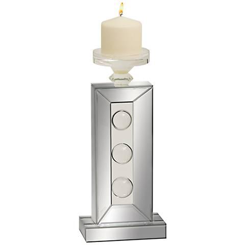 "Bubble Mirror Rectangular 14""High Pillar Candle Holder"