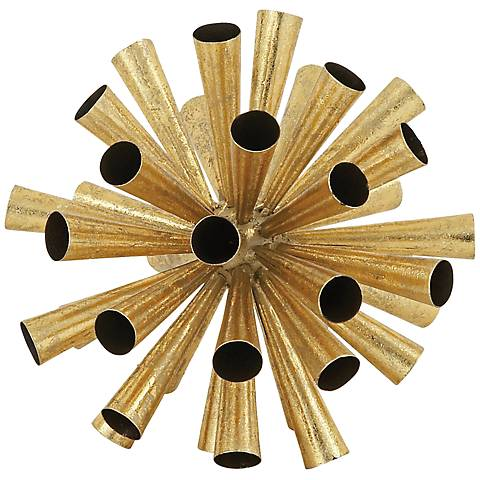 "Decorative Firework 9"" High Gold Metal Sphere"