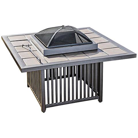 Hemingway Square Brown Sand Steel Cast Outdoor Fire Table