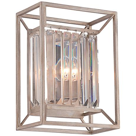 """Linares 12 3/4"""" High Aged Platinum Wall Sconce"""
