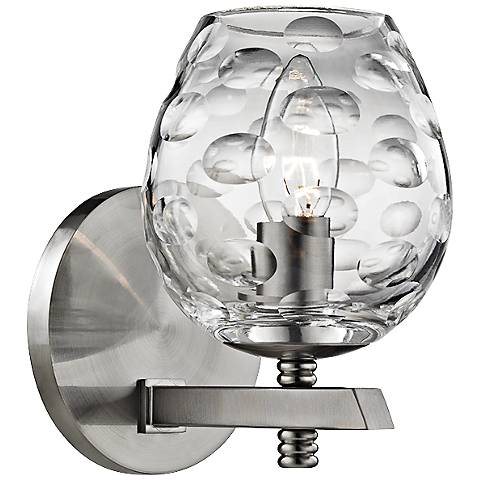 "Hudson Valley Burns 7 1/4"" High Satin Nickel Wall Sconce"