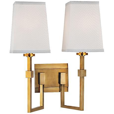 "Fletcher 15 1/4""H 2-Light Aged Brass Wall Sconce"