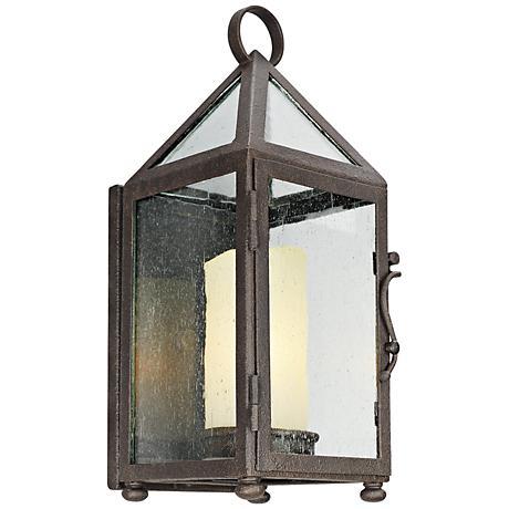 """Hidden Hill 14"""" High Foggy Rust Iron Outdoor Wall Light"""