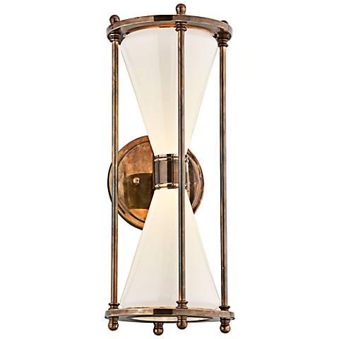 """Magellan 19"""" High Brass Hourglass LED Outdoor Wall Light"""