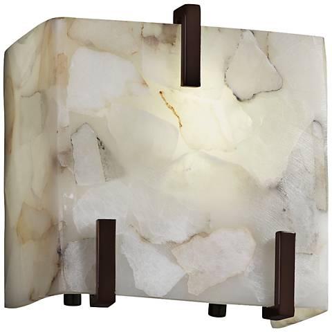 "Clips 6 1/2"" High Alabaster Rocks Dark Bronze Wall Sconce"