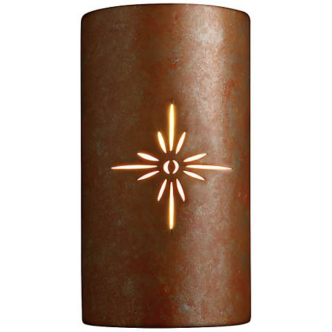 "Sun Dagger 13 7/5"" High Earth Ceramic Outdoor Wall Light"