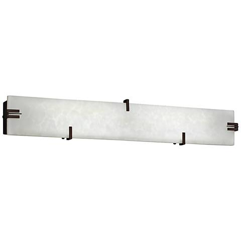 "Clips 36"" Wide LED White Clouds Dark Bronze Bath Light"