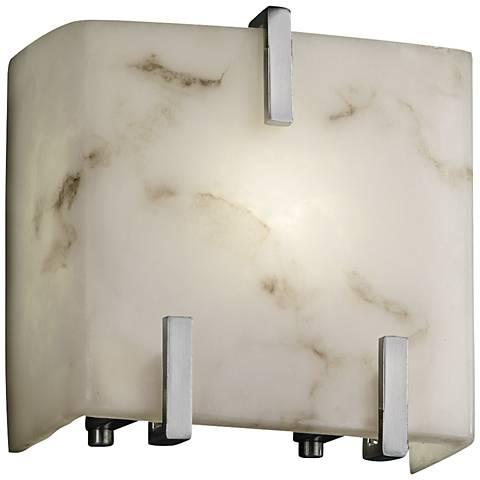 "LumenAria 6 1/2""H Faux Alabaster Nickel Wall Sconce"