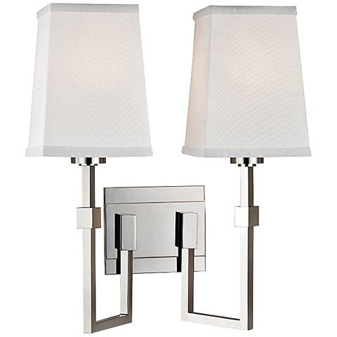 "Fletcher 15 1/4""H 2-Light Polished Nickel Sconce"