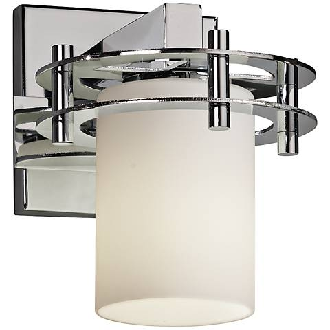 "Fusion 8 1/4"" High Opal Glass Polished Chrome Wall Sconce"