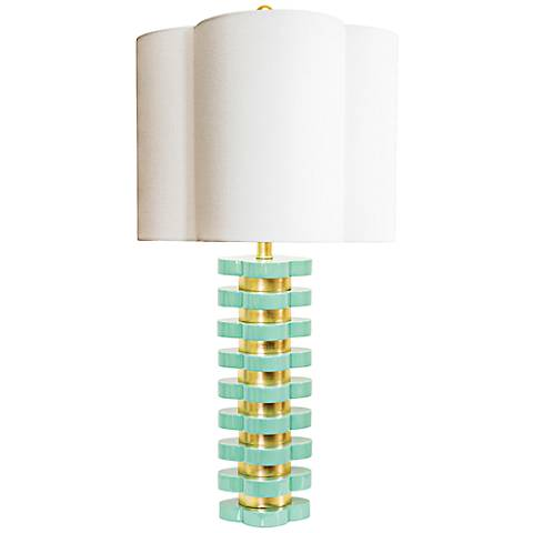 Couture Mint Green and Gold Leaf Quatrefoil Table Lamp