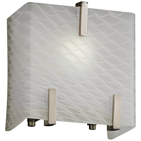 """Clips 6 1/2"""" High Weave Glass Brushed Nickel Wall Sconce"""
