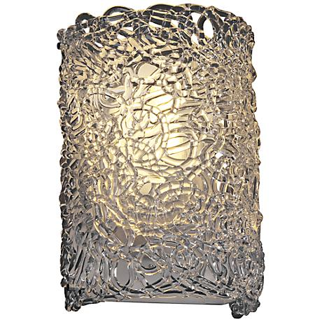 "Lace Venetian Glass 12 1/2""H Chrome Outdoor Wall Light"