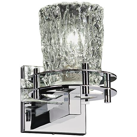 "Clear Venetian Glass 9"" High Polished Chrome Wall Sconce"