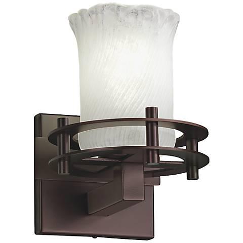 """Frost Venetian Glass 9"""" High Dark Bronze Wall Sconce"""