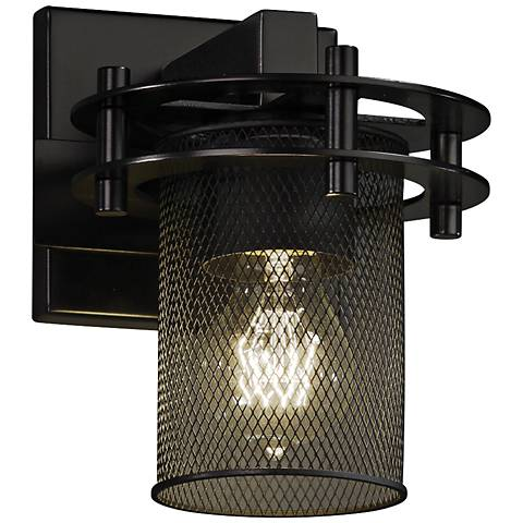 "Circa Mesh 8 1/4"" High 1-Light Vintage Black Wall Sconce"