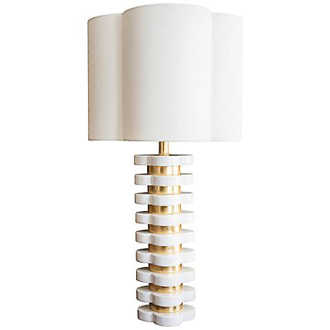 Couture White and Gold Leaf Quatrefoil Table Lamp