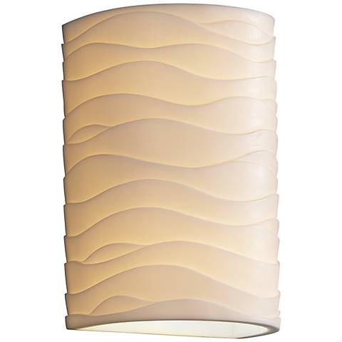 "Porcelina Wave 12 1/2""H Large Cylinder Outdoor Wall Light"