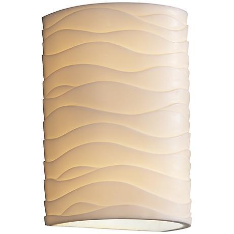 """Porcelina Wave 12 1/2""""H Large Cylinder Outdoor Wall Light"""