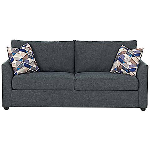 """Klaussner Kalvin 78""""W Gray Upholstered Queen Sleeper Sofa"""