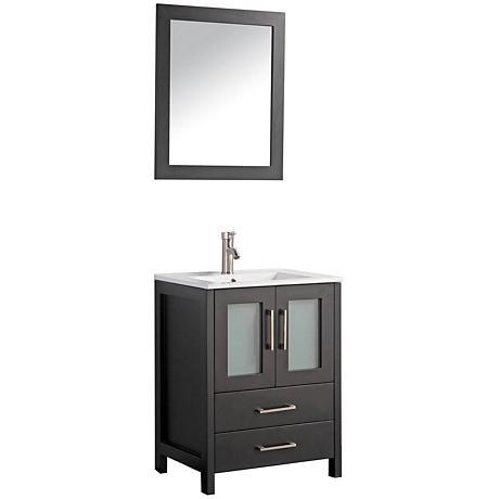 "Argentina 24"" Espresso 2-Door Bath Vanity and Mirror Set"
