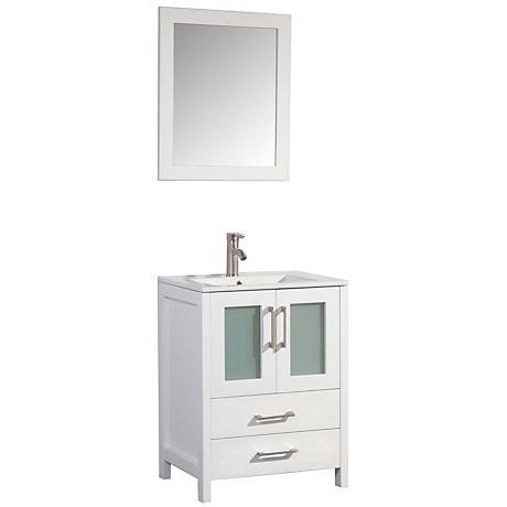 """Argentina 24"""" White 2-Door Bathroom Vanity and Mirror Set"""