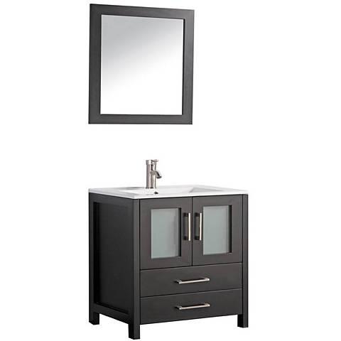 "Argentina 36"" Espresso 2-Door Bath Vanity and Mirror Set"