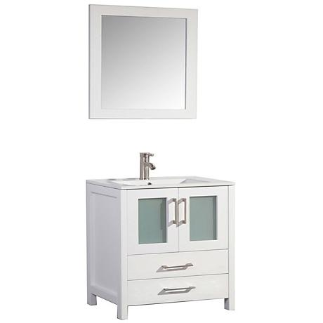 "Argentina 36"" White 2-Door Bathroom Vanity and Mirror Set"