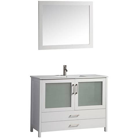 """Argentina 48"""" White 2-Door Bathroom Vanity and Mirror Set"""