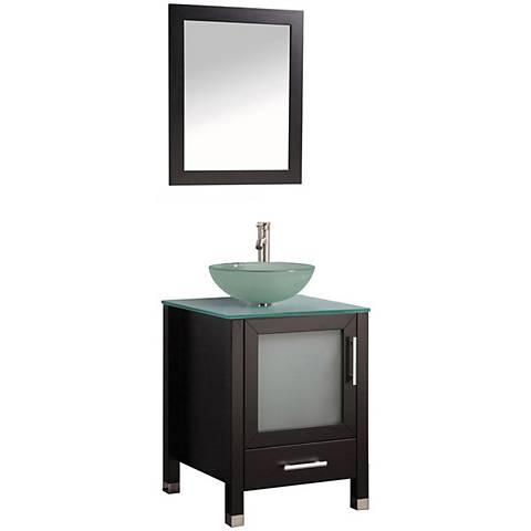 """Cuba 24"""" Espresso 1-Sink Bathroom Vanity and Mirror Set"""