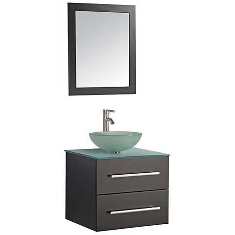 "Cuba 24"" Espresso Wall-Mount 1-Sink Vanity and Mirror Set"