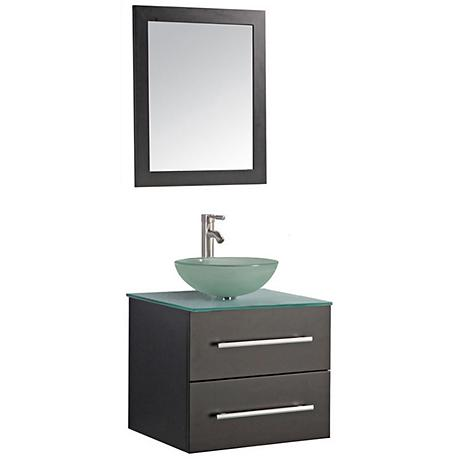 "Cuba 24"" Espresso Wall-Mount 1-Sink Vanity and Mirror Set"