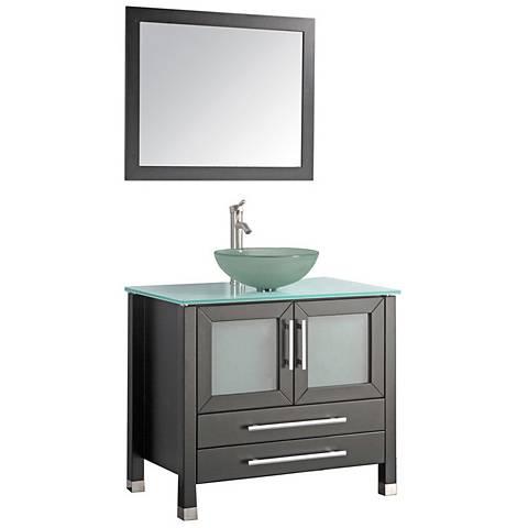 """Cuba 36"""" Espresso 1-Sink Bathroom Vanity and Mirror Set"""