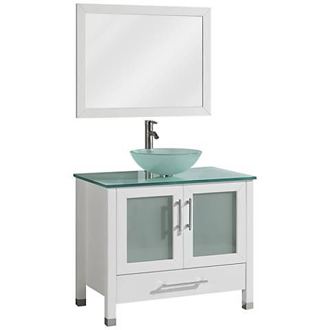 "Cuba 36"" White Single-Sink Bathroom Vanity and Mirror Set"
