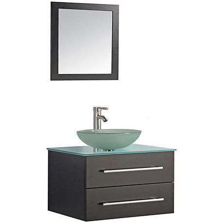 "Cuba 36"" Espresso Wall-Mount 1-Sink Vanity and Mirror Set"
