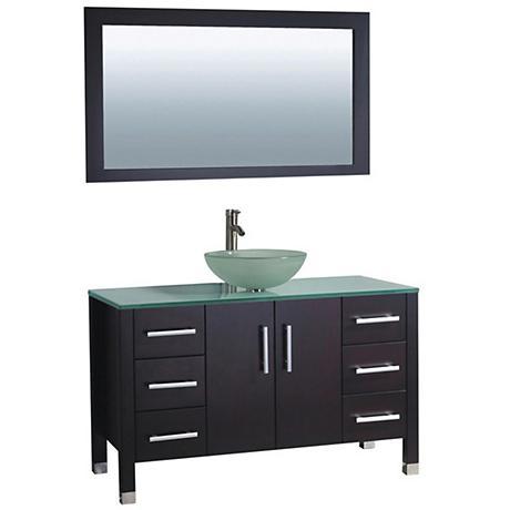 """Cuba 48"""" Espresso 1-Sink Bathroom Vanity and Mirror Set"""