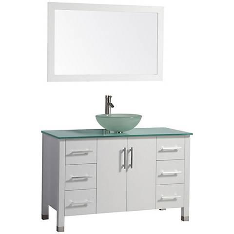 "Cuba 48"" White Single-Sink Bathroom Vanity and Mirror Set"
