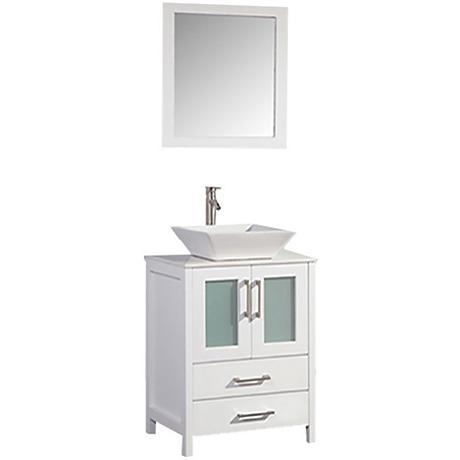 """Jordan 24"""" White 2-Door Bathroom Vanity and Mirror Set"""