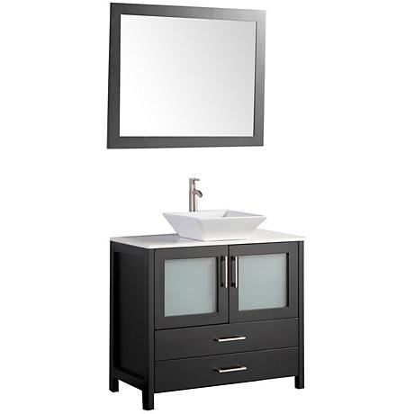 """Jordan 36"""" Espresso 2-Door Bathroom Vanity and Mirror Set"""