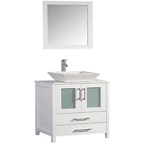 """Jordan 36"""" White 2-Door Bathroom Vanity and Mirror Set"""