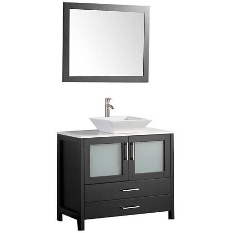 """Jordan 48"""" Espresso 2-Door Bathroom Vanity and Mirror Set"""