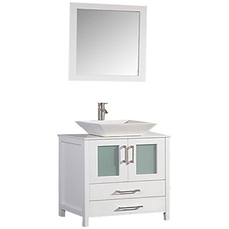 """Jordan 48"""" White 2-Door Bathroom Vanity and Mirror Set"""